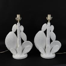 MID-CENTURY PORCELAIN WHITE CATCUS LAMPS