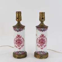 PAIR OF EXPORT STYLE FRENCH PORCELAIN LAMPS