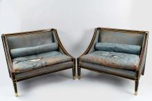 PAIR OF ENGLISH REGENCY STYLE BLUE LEATHER SETTEES