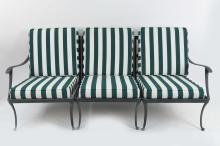 (3) IRON OUTDOOR TRIPLE SEAT SOFA