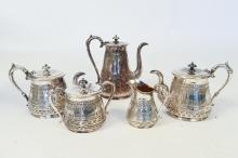 5 PIECE ROGERS & BRO SILVER PLATE TEA SERVICE