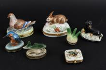 GROUPING OF LIMOGES ANIMAL MINIATURE BOXES ETC