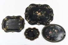 GROUPING OF TOLE PAINTED TRAYS