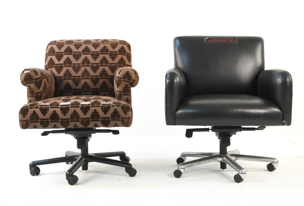 (2) VINTAGE DONGHIA DESK CHAIRS, FOR REUPHOLSTERY