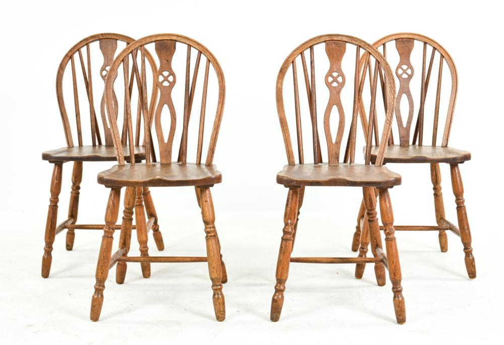 (4) YEW WOOD WINDSOR STYLE DINING CHAIRS