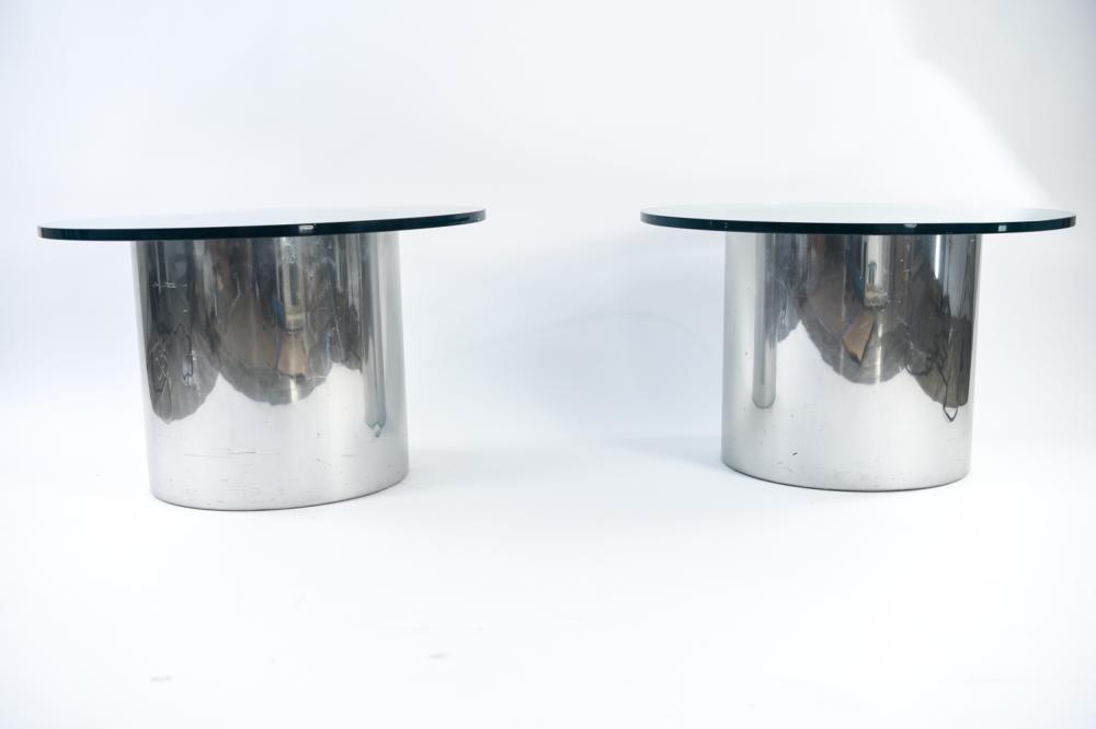 Paul Mayen For Habitat Glass Aluminum Side Tables