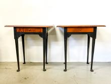 PAIR OF ELDRED WHEELER TIGER MAPLE ONE DRAWER STANDS