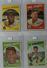 1959 Topps 4 card lot w/ Cepeda, Slaughter & More