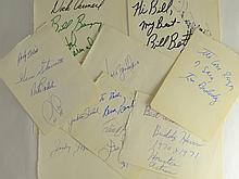 Lot of 11 Autographed Pages - MultiSport - HOFers