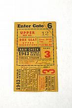 1943 World Series Game 3 Ticket at Yankees