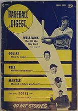 Baseball Digest June 1951 Magazine - Mantle Cover