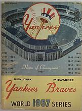 1957 Yankees vs Braves World Series Program - Game 6