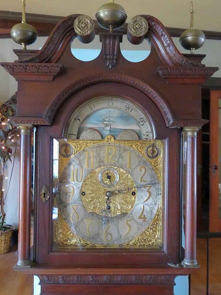 19th C Walter Durfee Eight Bell Tall Clock