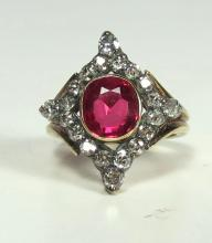 LADIES OVAL RED SYNTHETIC RUBY & DIAMOND RING: