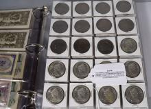 US & FOREIGN CURRENCY, COINS, THREE SILVER COMMORATIVES & MODERN DATE US COIN SET: