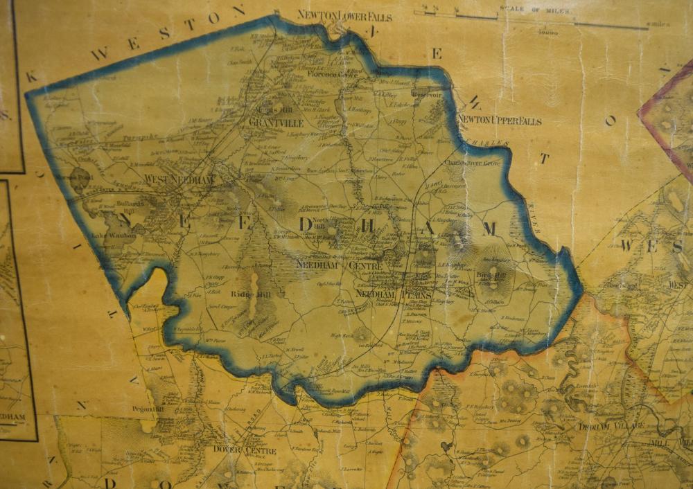 1853 WALL MAP NORFOLK MASS BY WALLING
