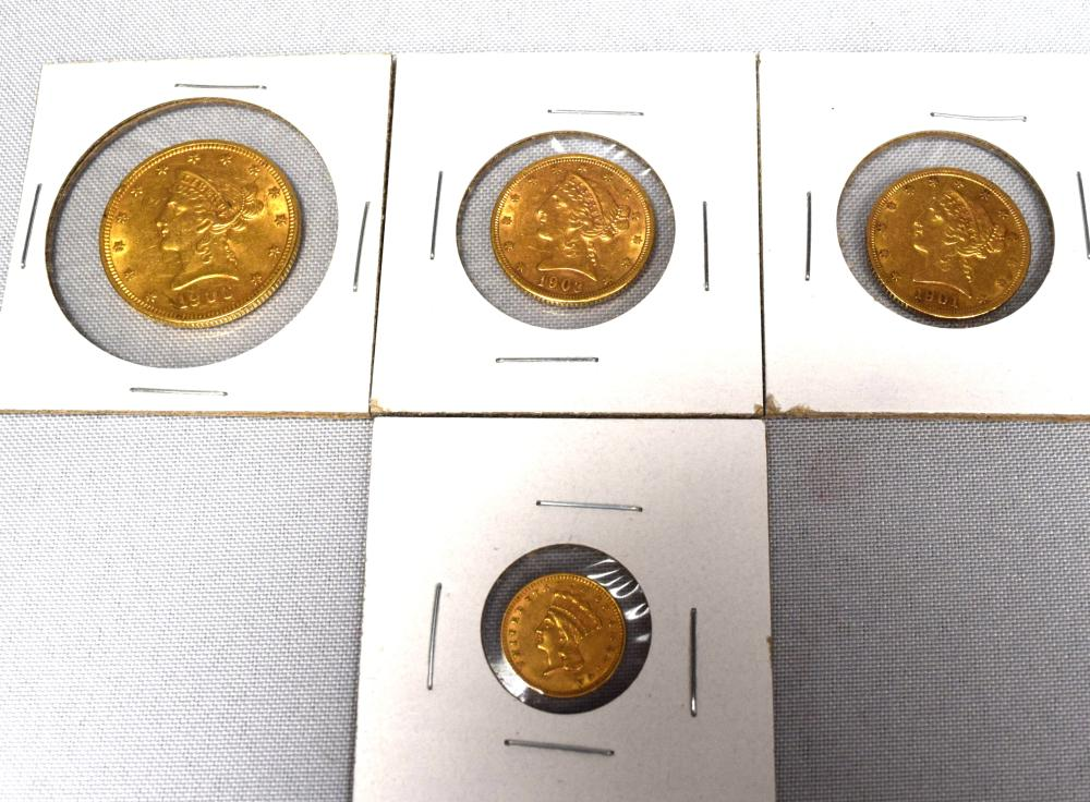 FOUR LIBERTY HEAD EAGLE GOLD COINS: