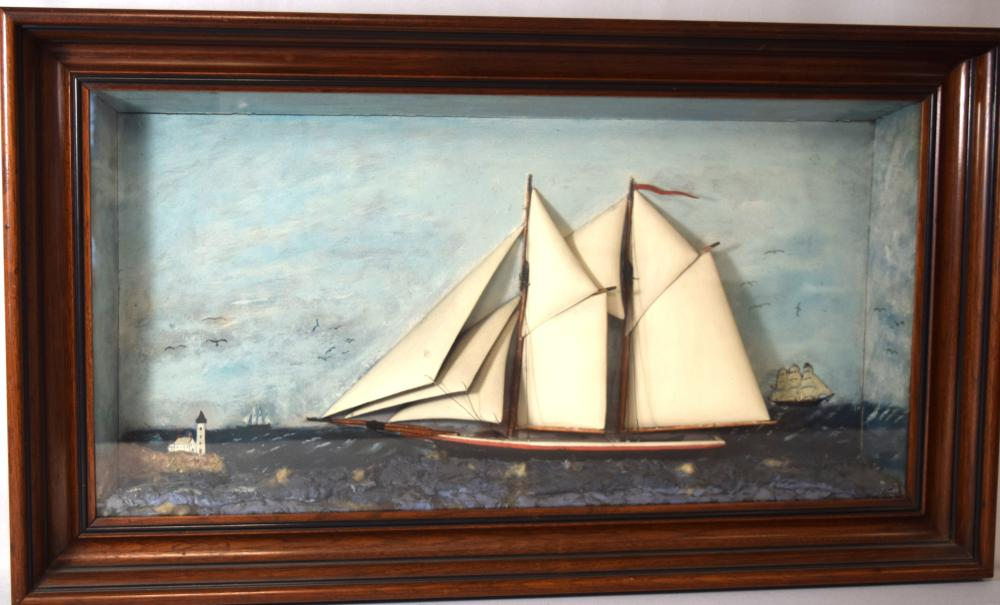 19TH C. TALL SHIP DIORAMA SHADOW BOX: