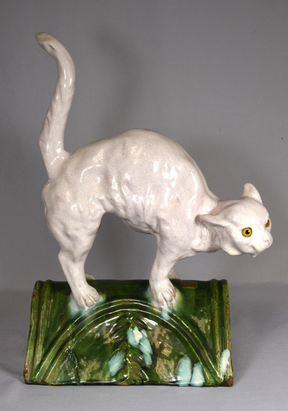 FRENCH FIGURAL CAT FORM ROOF TILE: