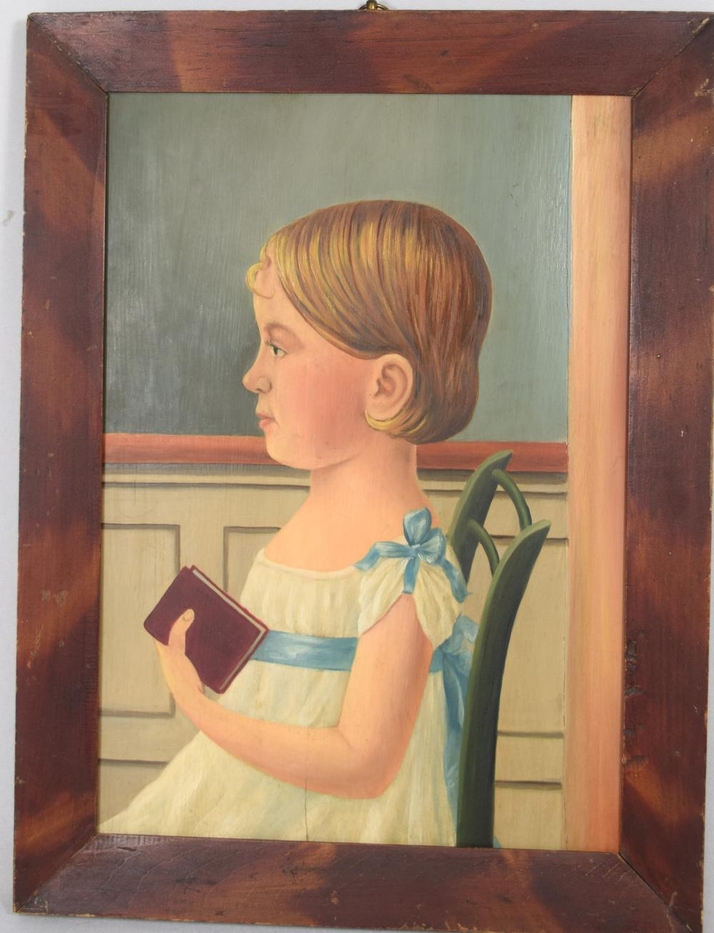 EARLY 19TH C AMERICAN SCHOOL FOLK ART PAINTING OF YOUNG GIRL: