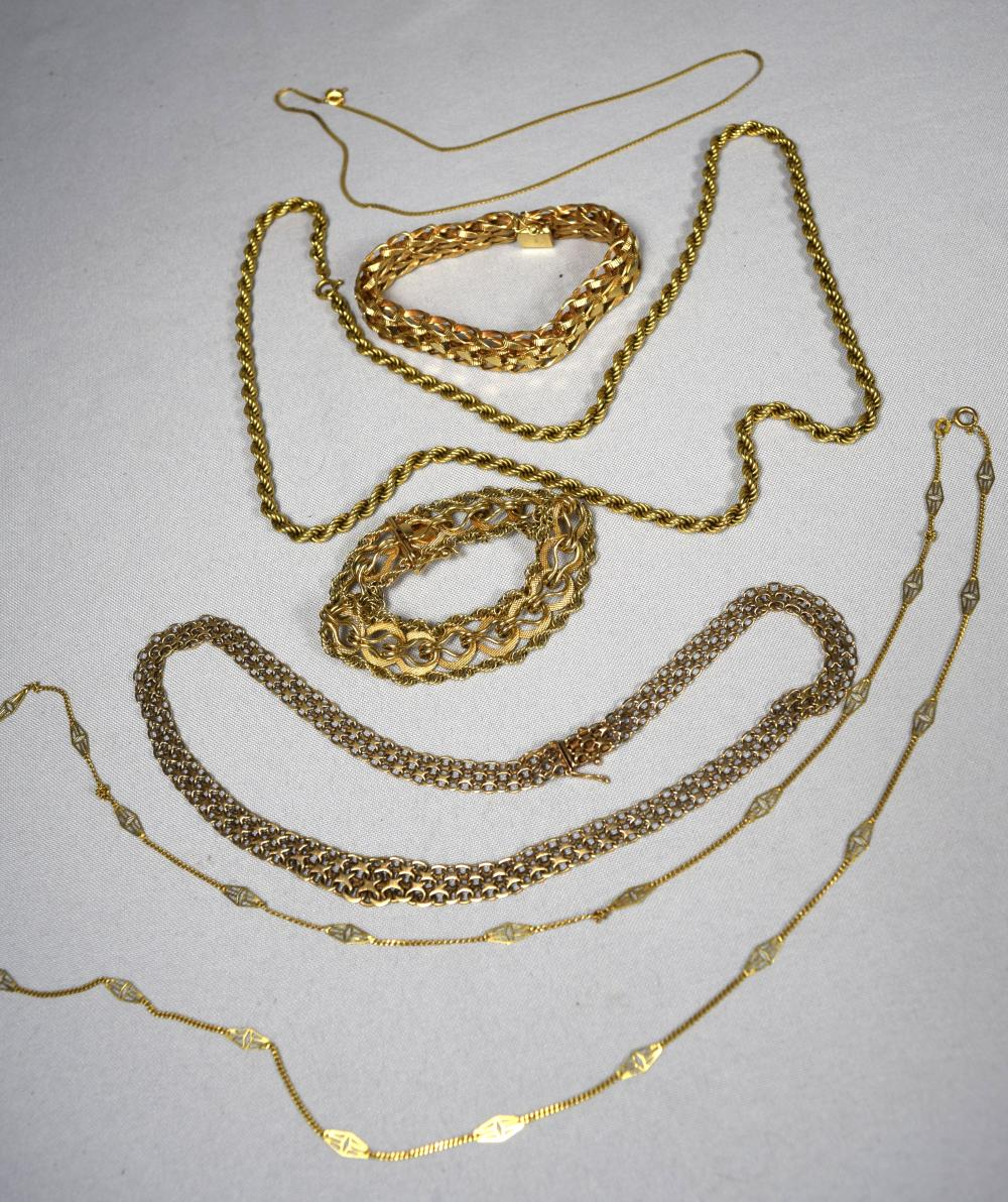SIX PIECE 14KT YELLOW GOLD JEWELRY LOT: