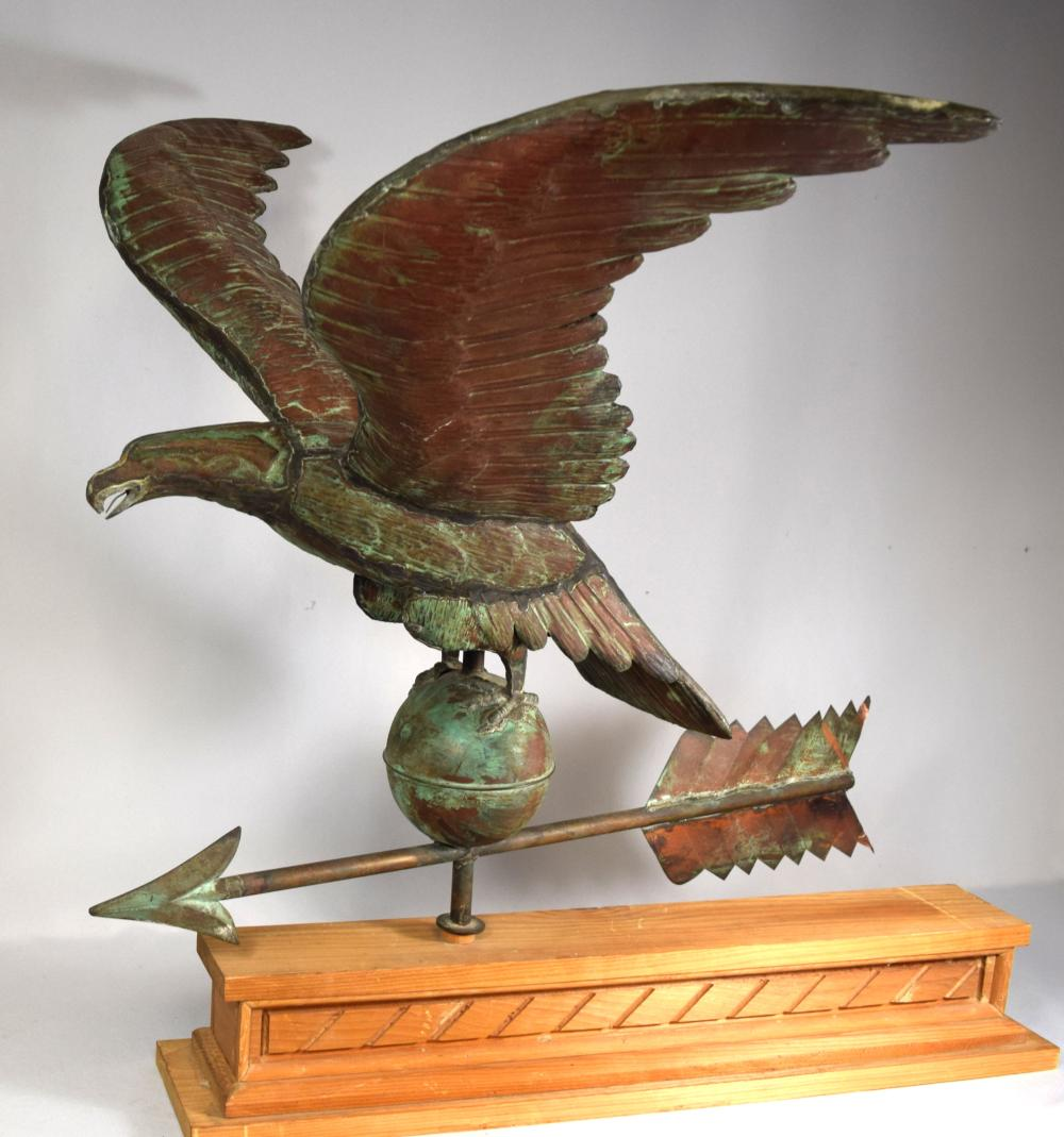 COPPER FULL BODY EAGLE WEATHERVANE: