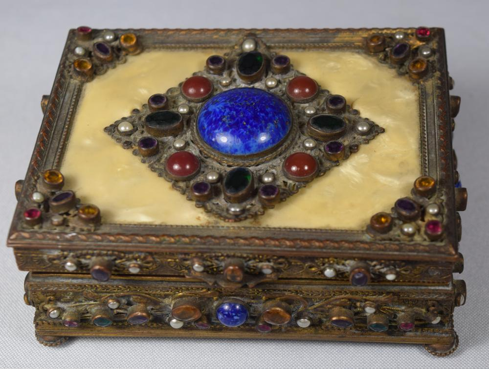 AUSTRIAN GILT BRONZE & JEWELED CASKET JEWEL TRINKET BOX: