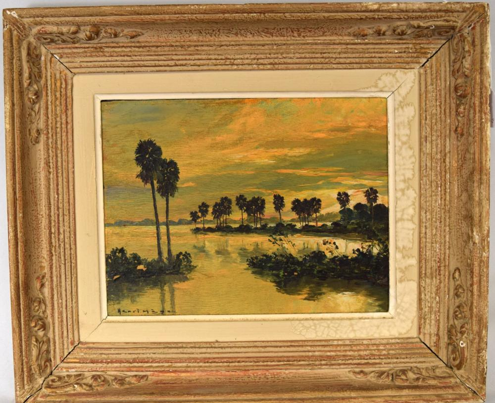 HENRI MEGE OIL ON BOARD PAINTING: