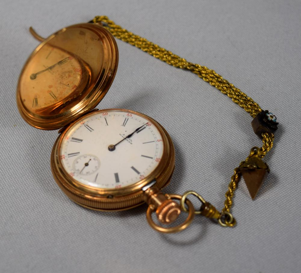 AMERICAN WALTHAM 14KT GOLD HUNTER'S CASE POCKET WATCH: