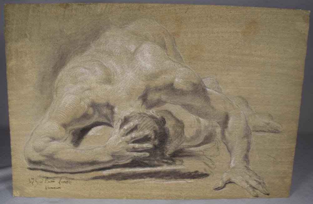 18TH C OLD MASTER STUDY DRAWING FALLEN MALE NUDE: