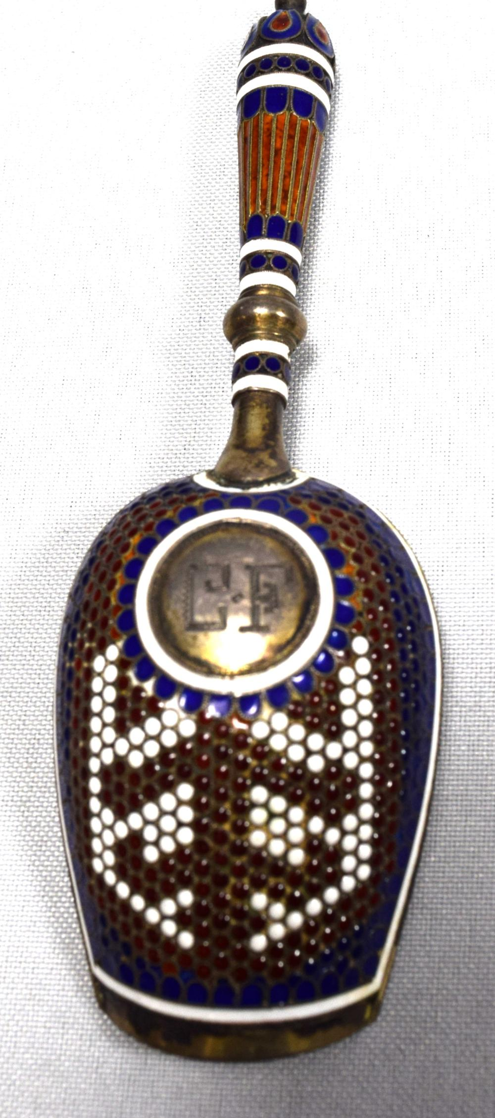 RUSSIAN ENAMEL SILVER SUGAR SCOOP SPOON: