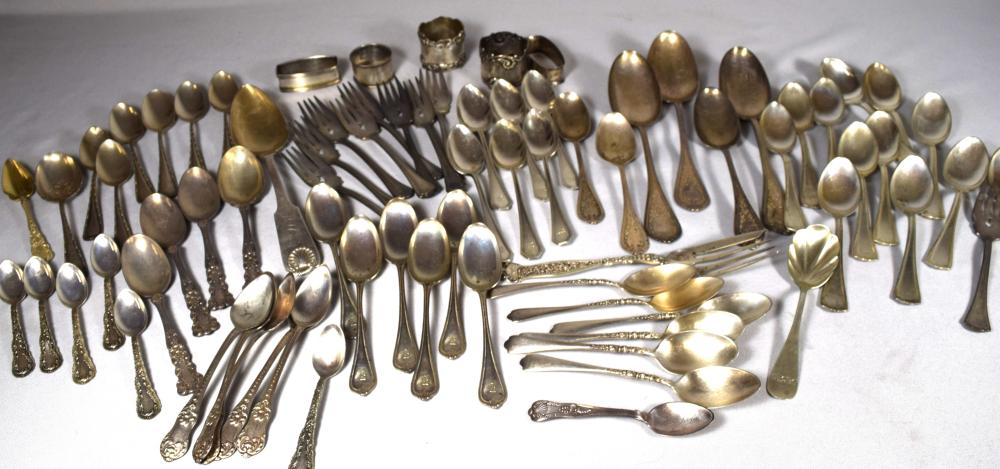 MISCELLANEOUS STERLING SILVER FLATWARE, ETC:
