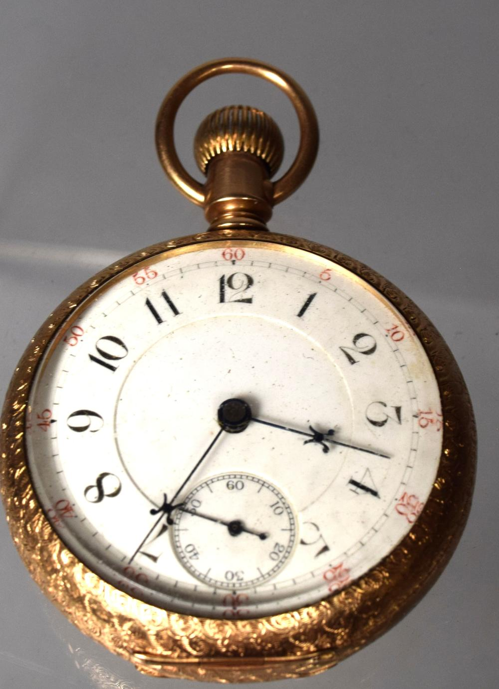 HEAVY 14KT GOLD WATHAM OPEN FACE POCKET WATCH: