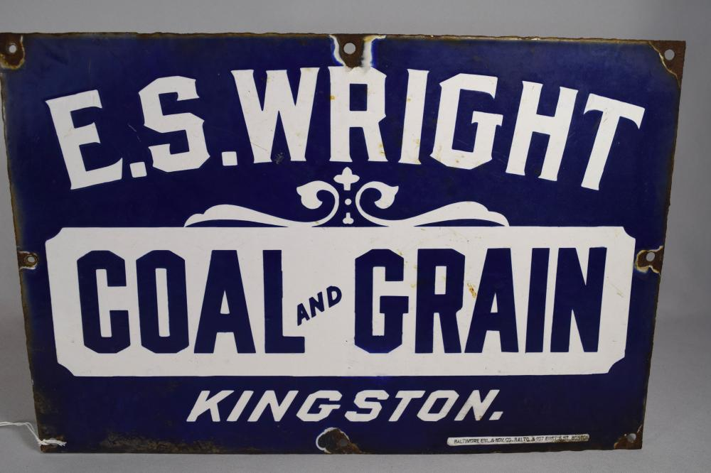 E. S. WRIGHT COAL & GRAIN PORCELAIN ENAMEL SIGN: