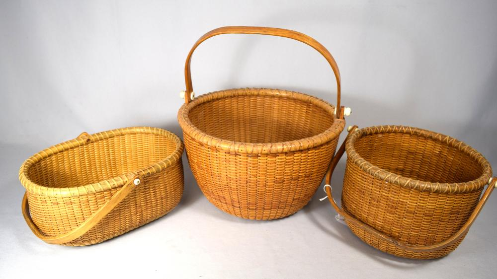 THREE VINTAGE NANTUCKET BASKETS: