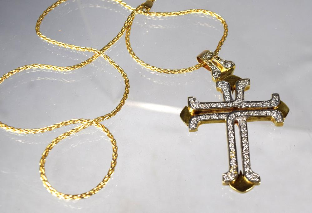 14KT GOLD & DIAMOND SET CROSS & NECKLACE: