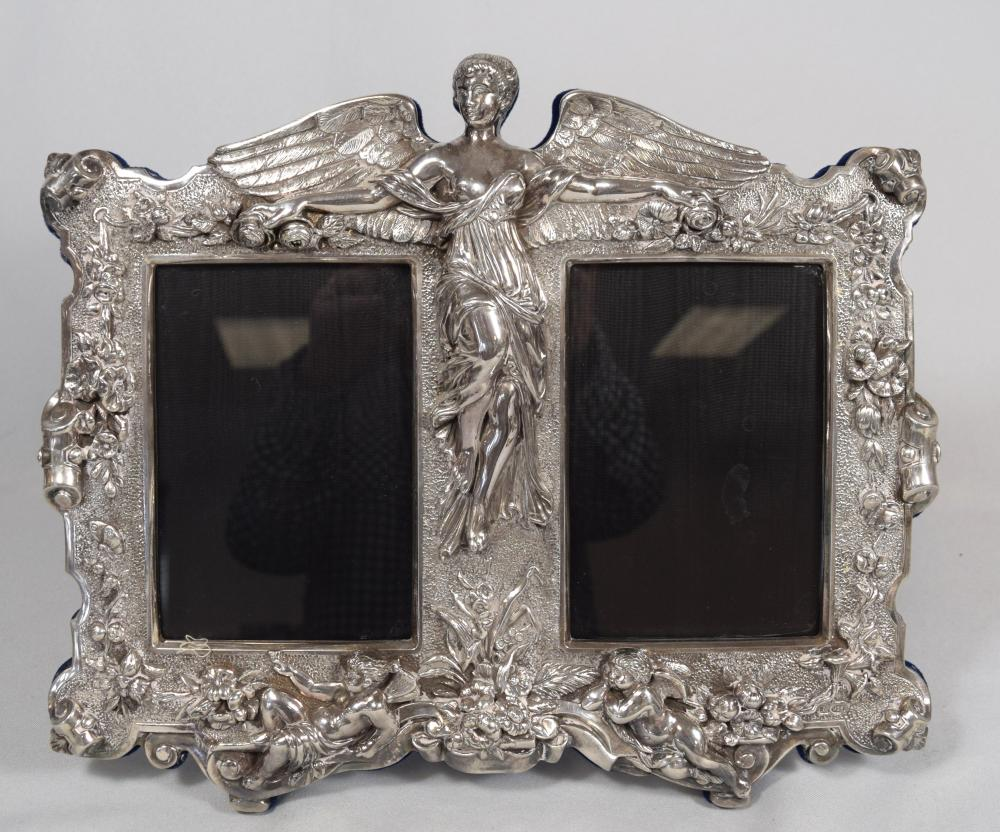 STERLING ANGEL & CHERUB DOUBLE PICTURE FRAME: