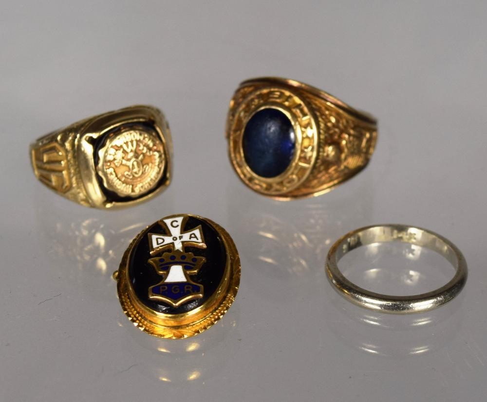ASSEMBLED CLASS RINGS, WEDDING BAND, & PIN: