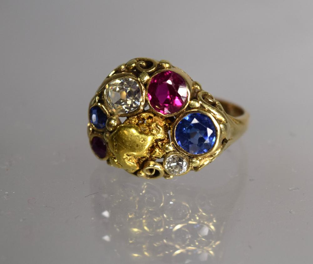LADIES 14KT YELLOW GOLD & MULTI GEMSTONE & DIAMOND RING: