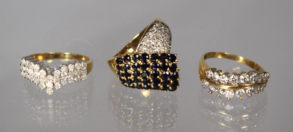 THREE GOLD, DIAMOND & GEMSTONE RINGS: