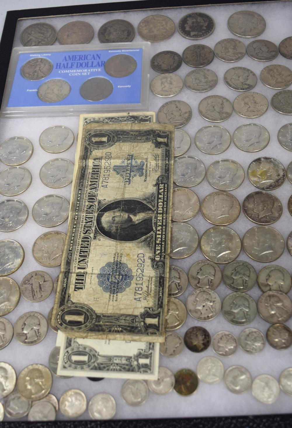 US SILVER, PAPER CURRENCY, & FOREIGN SILVER COINS & ONE TOKEN: