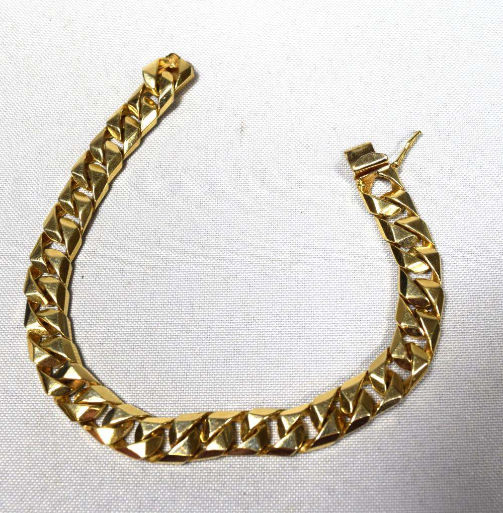 HEAVY 14KT YELLOW GOLD LINK MAN'S BRACELET: