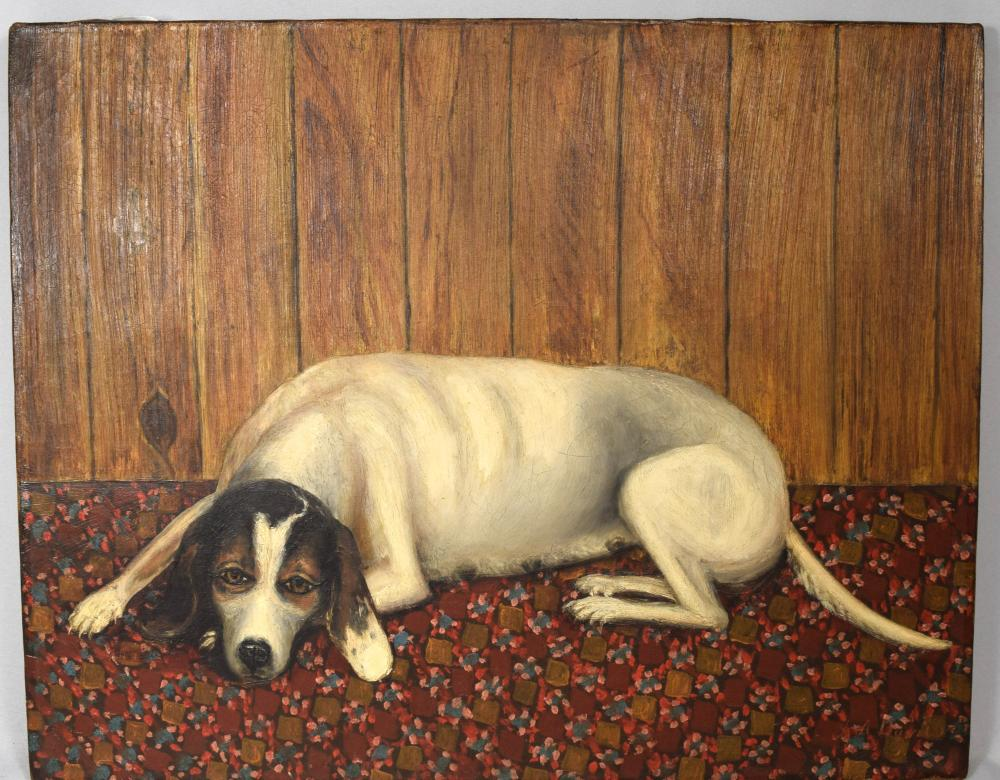 FOLK ART OIL PAINTING OF DOG: