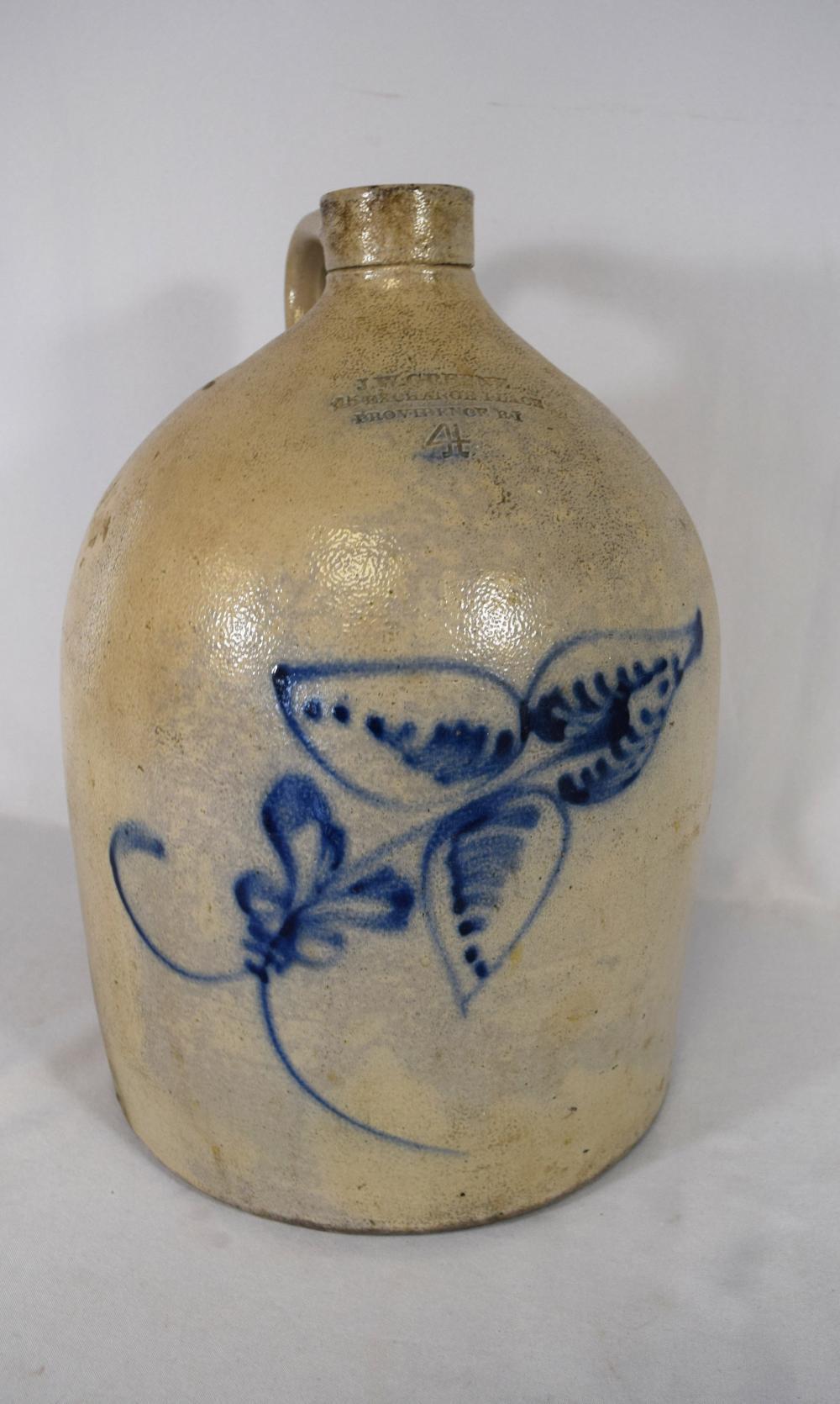 4 GALLON COBALT BLUE DECORATED JUG: