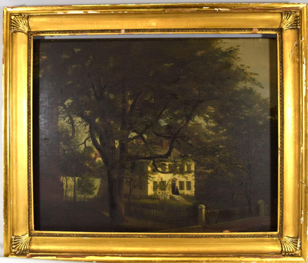 AMERICAN 19TH CENTURY UNSIGNED HOUSE & STREET SCENE OIL PAINTING: