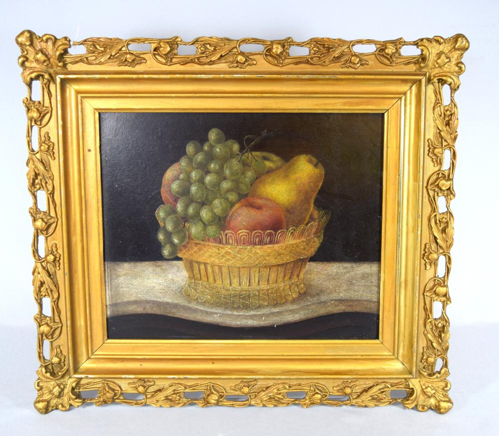19TH C AMERICAN FOLK ART STILL LIFE OIL PAINTING: