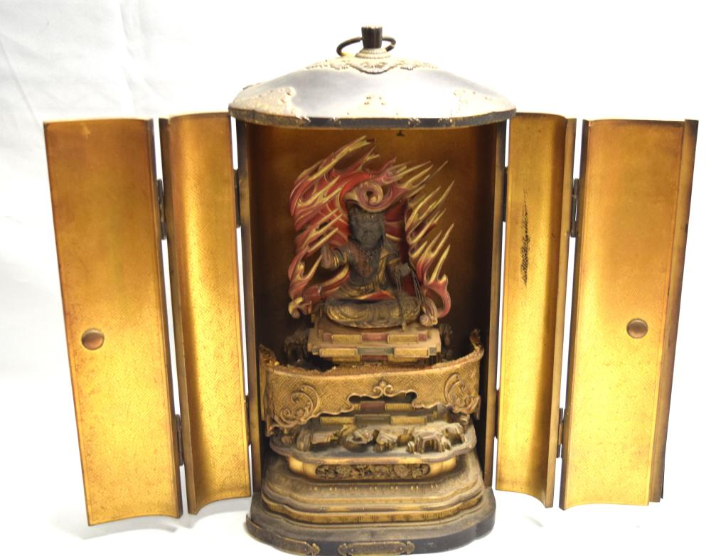 19TH JAPANESE TRAVELING SHRINE IN LACQUER CASE: