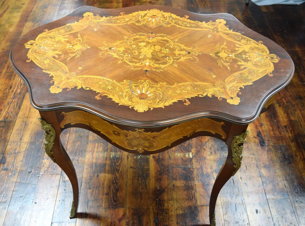 LOUIS XV STYLE FRENCH MARGUETRY INLAID PARLOR TABLE: