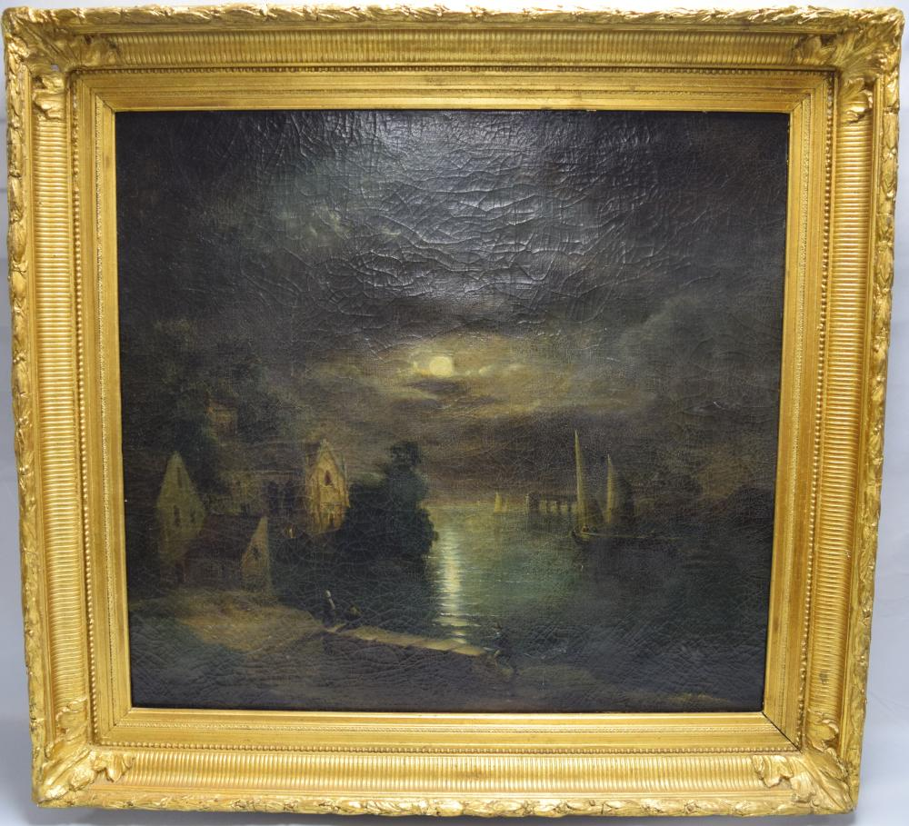 EARLY 19TH C DUTCH FULL MOON NIGHT OIL PAINTING: