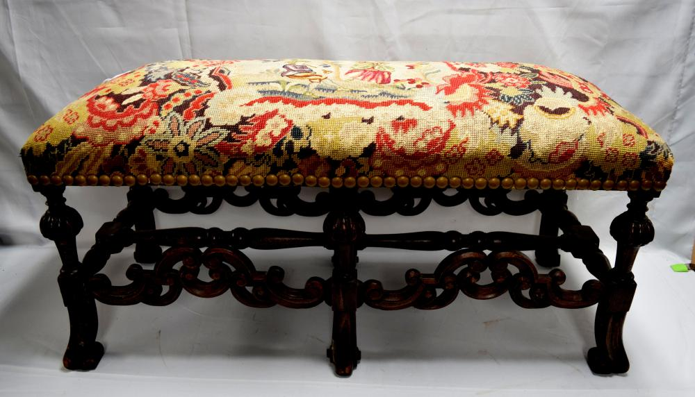 ANTIQUE JACOBEAN-STYLE WALNUT BENCH or OTTOMAN WITH NEDDLEWORK UPHOLSTERY: